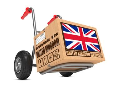 Cardboard Box with flag of United Kingdom
